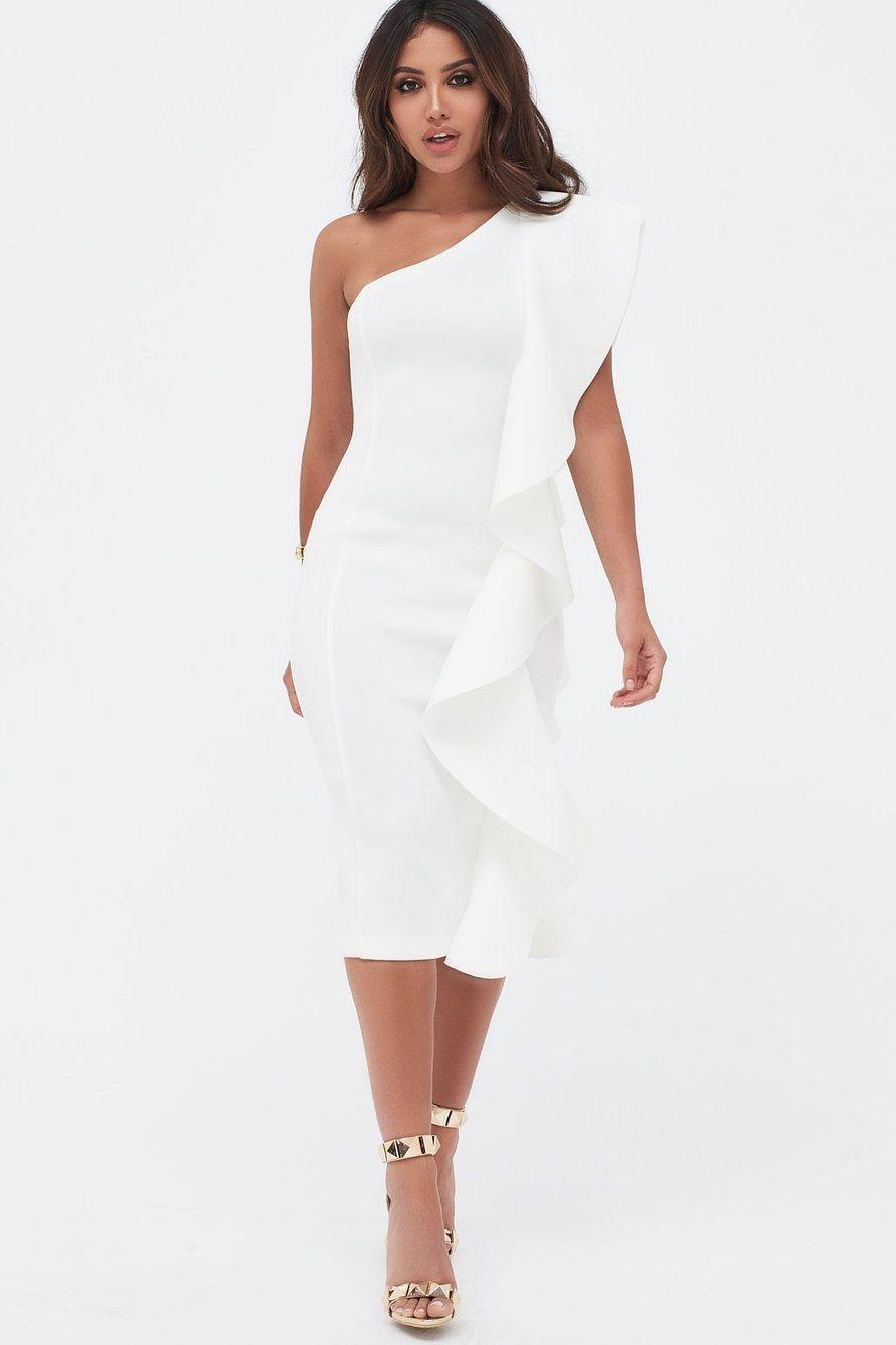 One Shoulder Scuba Exaggerated Frill Midi Dress In White Lavish Alice Dresses White Midi Dress Midi Dress [ 1340 x 893 Pixel ]