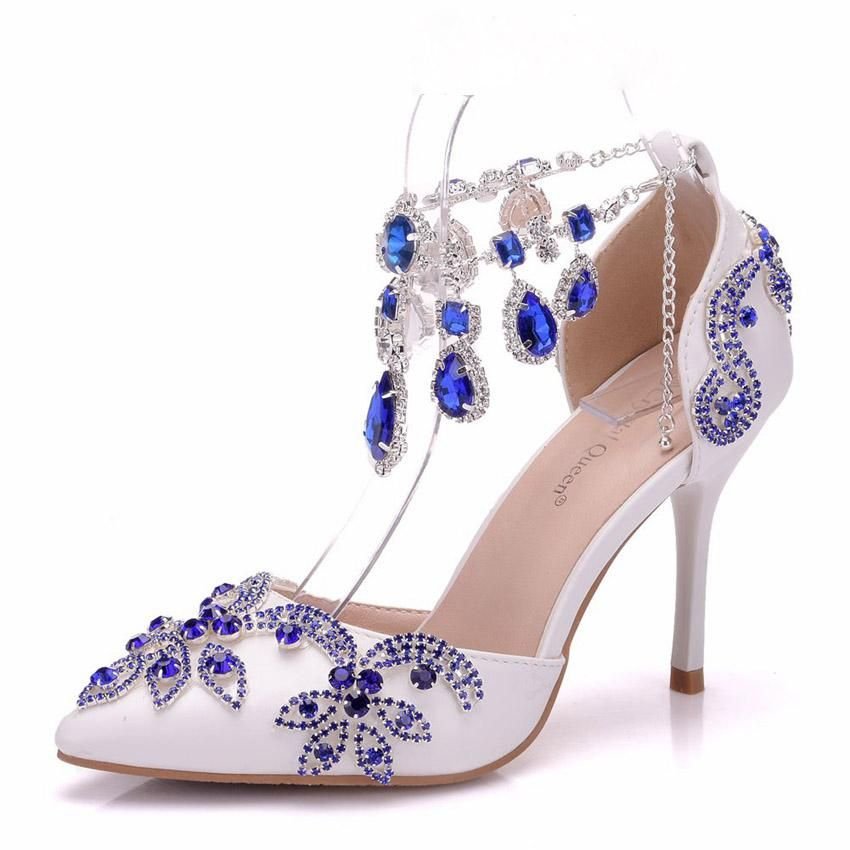 Blue Diamond High Heel Wedding Sandals In 2020 Kitten Heel