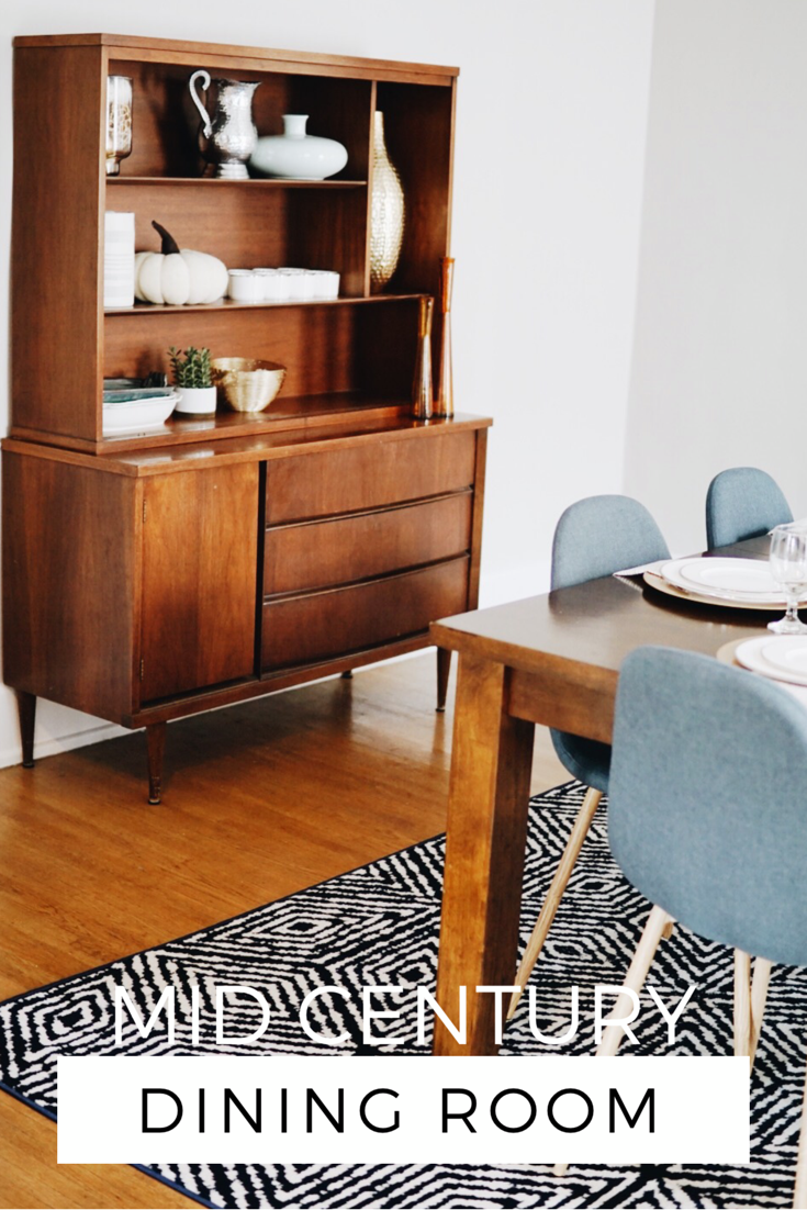 Room Reveal Our Navy Gold Mid Century Dining Room Hey Haley Mid Century Dining Room Dining Room Design Mid Century Modern Dining Room
