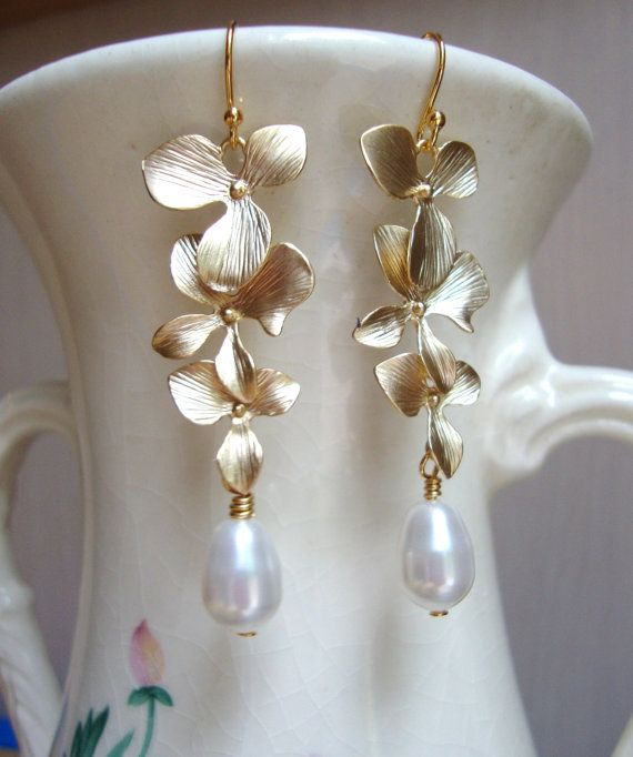 Matte Gold Orchids and Swarovski Pearls Dangle Earrings. Bridal ...