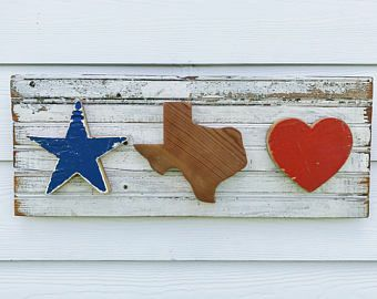 Reclaimed Wood Texas Sign Rustic State Outline Texan Decor Recycled