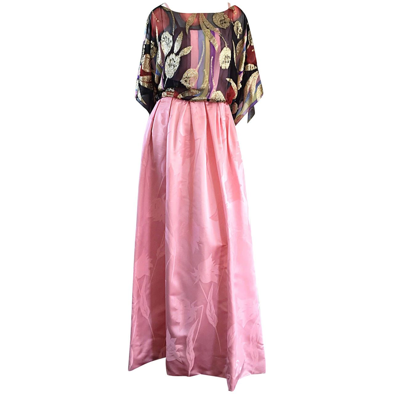 Exquisite Vintage Bohemian Pink Gown w/ Colorful Silk Gold Tulip ...
