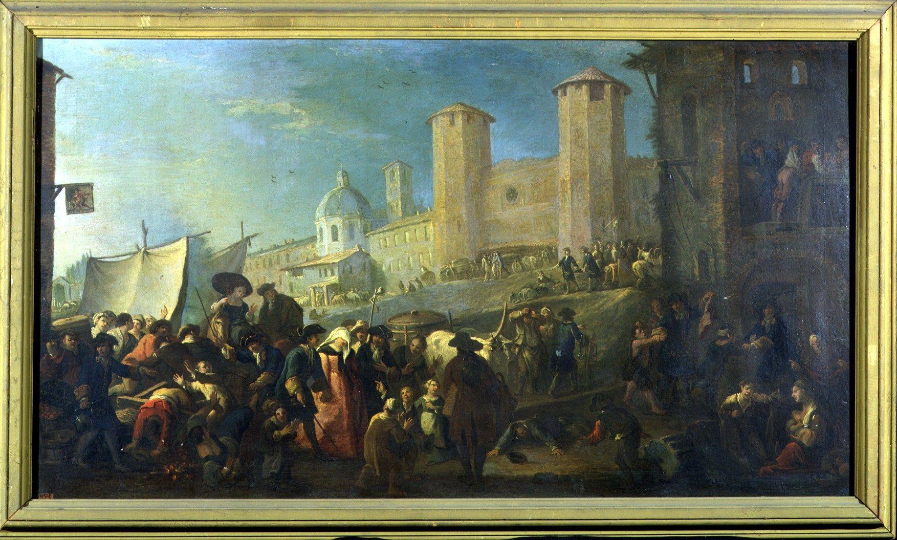 Mercato presso le torri palatine di Pietro Domenico Olivero   Palazzo Madama