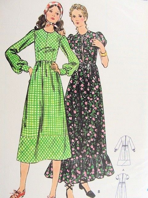1960s Romantic Bohemian High Waist Midi Maxi Dress Pattern Butterick ...