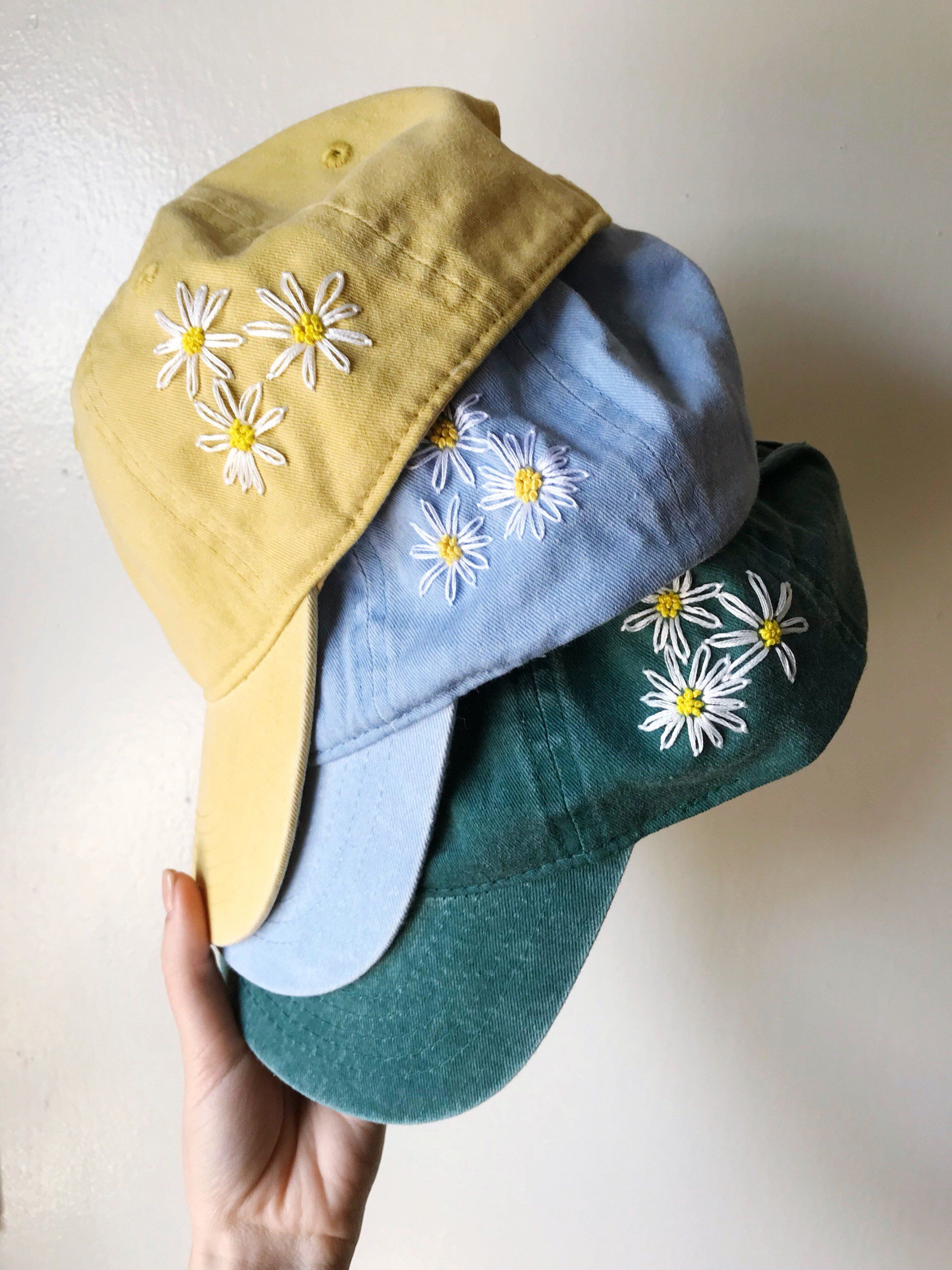 Floral Women's Baseball Cap  Hand Embroidered Flowers