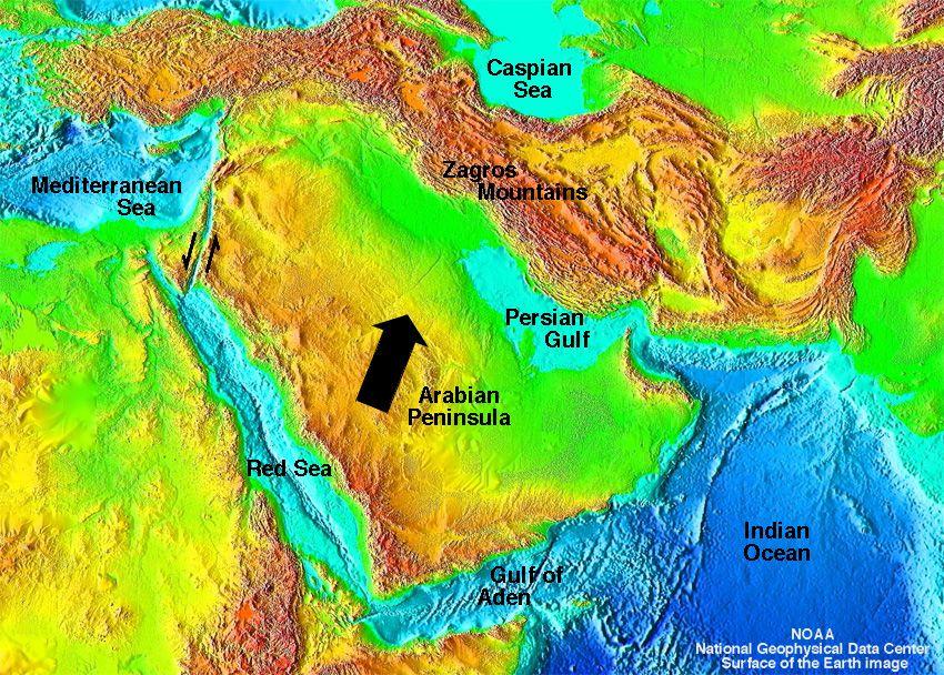 presentday Arabian Peninsula showing movement along Dead Sea Rift – Arabian Peninsula World Map