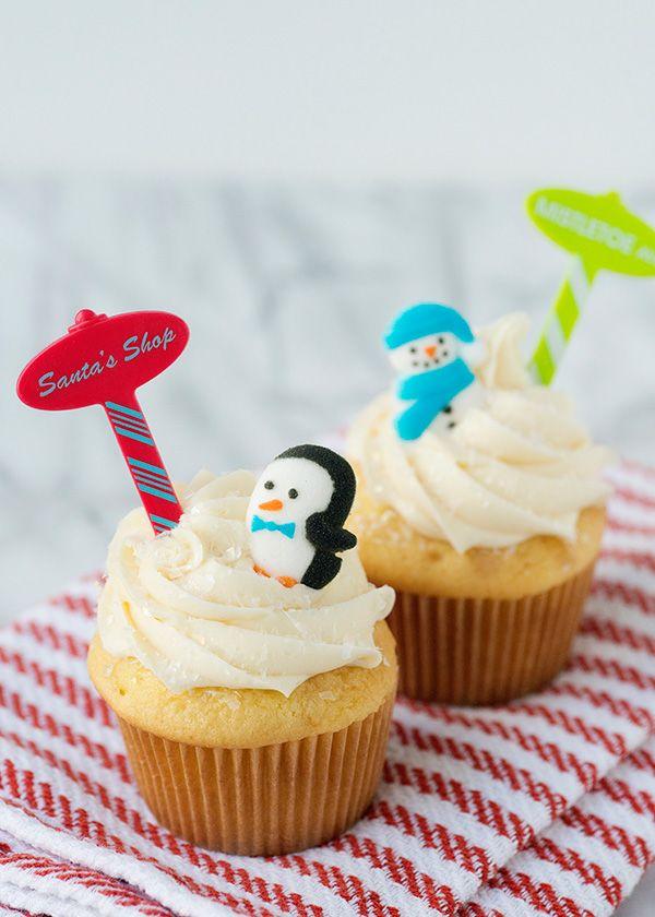 Sugar penguin decorations for Santa's Shop cupcakes!