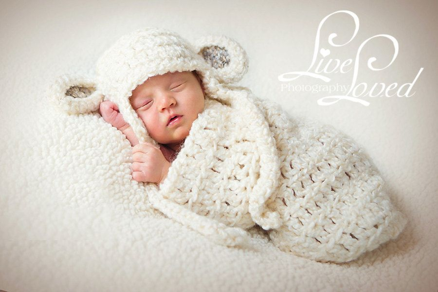 Download PDF crochet pattern s008 - Newborn Sheep earflap hat and ...