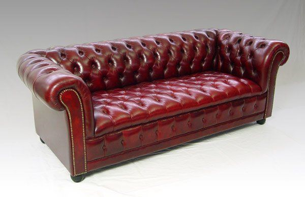 Deep Leather Couches | 117: Red Leather Chesterfield Sofa | Living