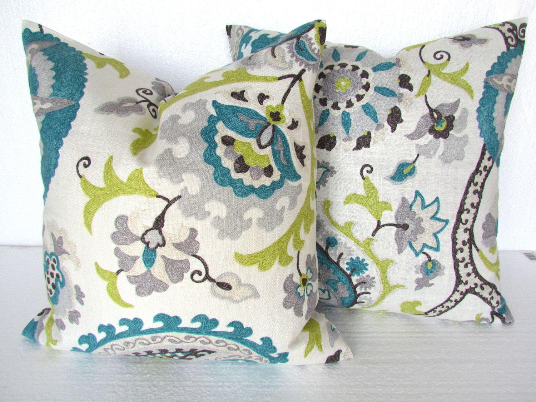 TEAL PILLOWS Blue Throw Pillows Gray Pillows Lime Green