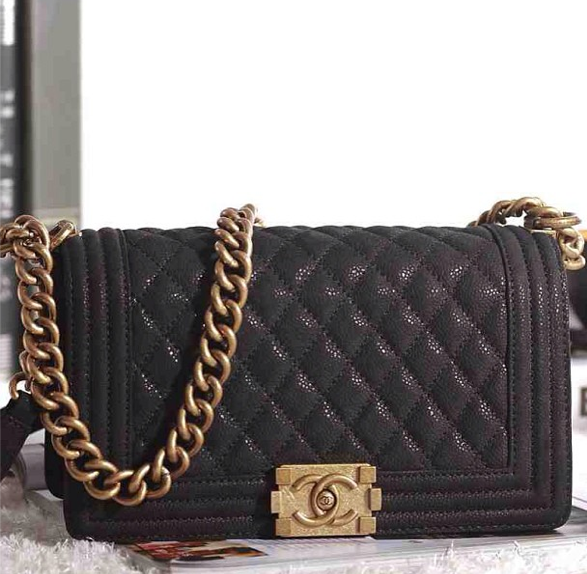 f57c30c3d0c9 Chanel boy bag black and gold