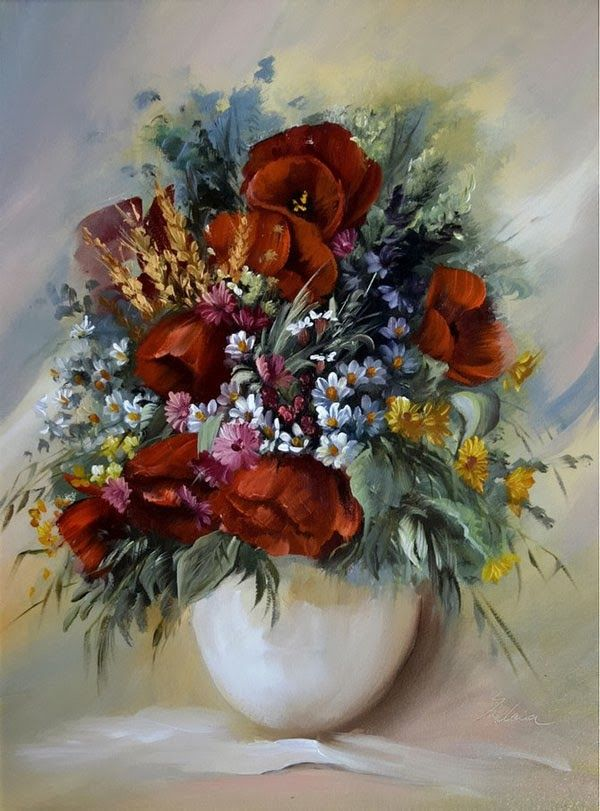 Fine Art and You: 16 Amazing Flower Paintings by Szechenyi Szidonia | Bouquet Paintings