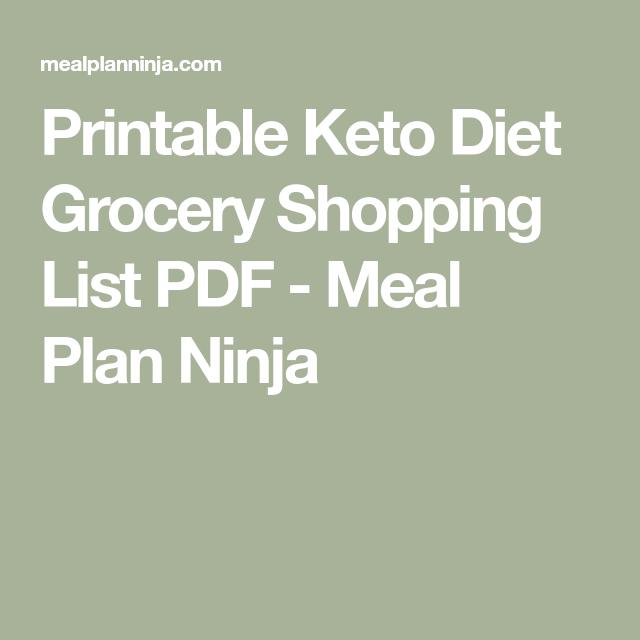 Printable Keto Diet Grocery Shopping List Pdf Meal Plan Ninja