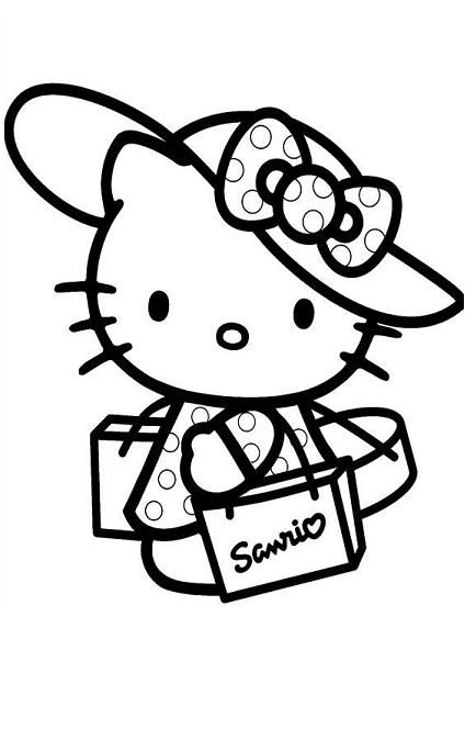 Hello Kitty Coloring Page For Kids And Adults From Cartoon Characters Pages
