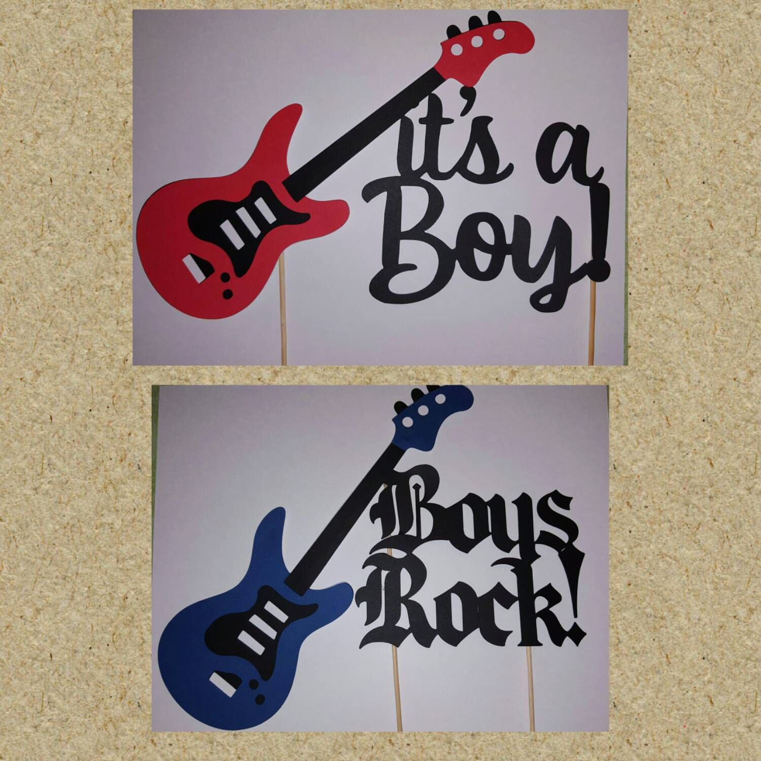 Boys Rock Baby Shower Cake Topper Guitar Rock On Band