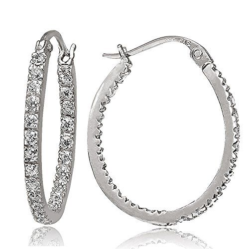 cdfa7ee60 Hoops Loops Sterling Silver Cubic Zirconia Inside Out 20mm Oval Hoop  Earrings -- Details can be found by clicking on the image. Note:It is  Affiliate Link to ...