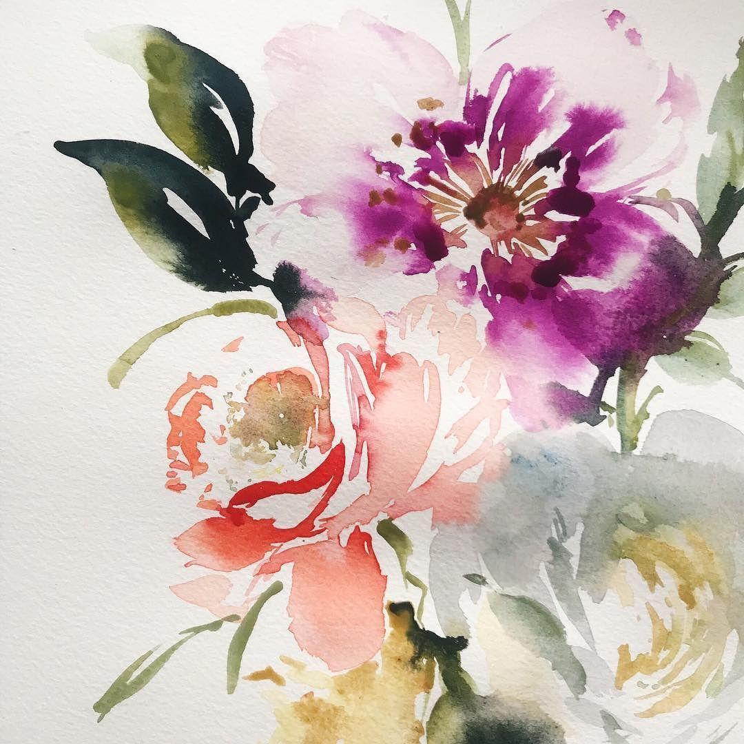 Watery Flowers Watercolorart Watercolor Painting Artistic