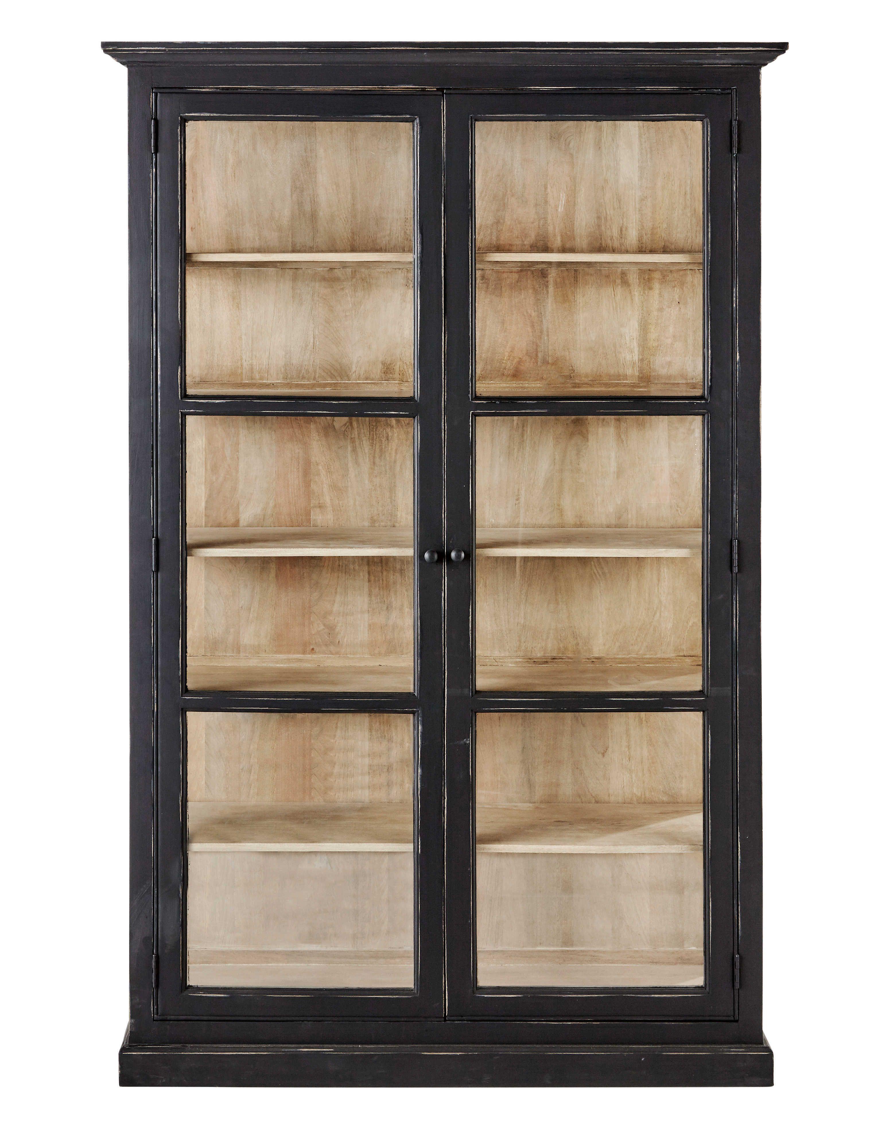 Vitrine En Manguier Noire Mat L 135 Cm Maisons Du Monde Kitchen Display Cabinet Wood Storage Cabinets Display Cabinet