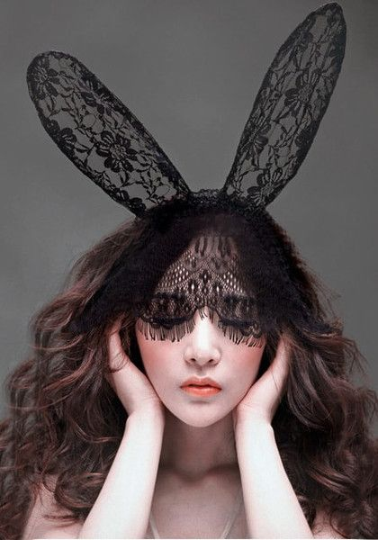 Channel the sexy Kylie Jenner in this black lace big bunny ears fascinator.  Wear this to make heads turn while partying on Halloween night. 5f4a780878d
