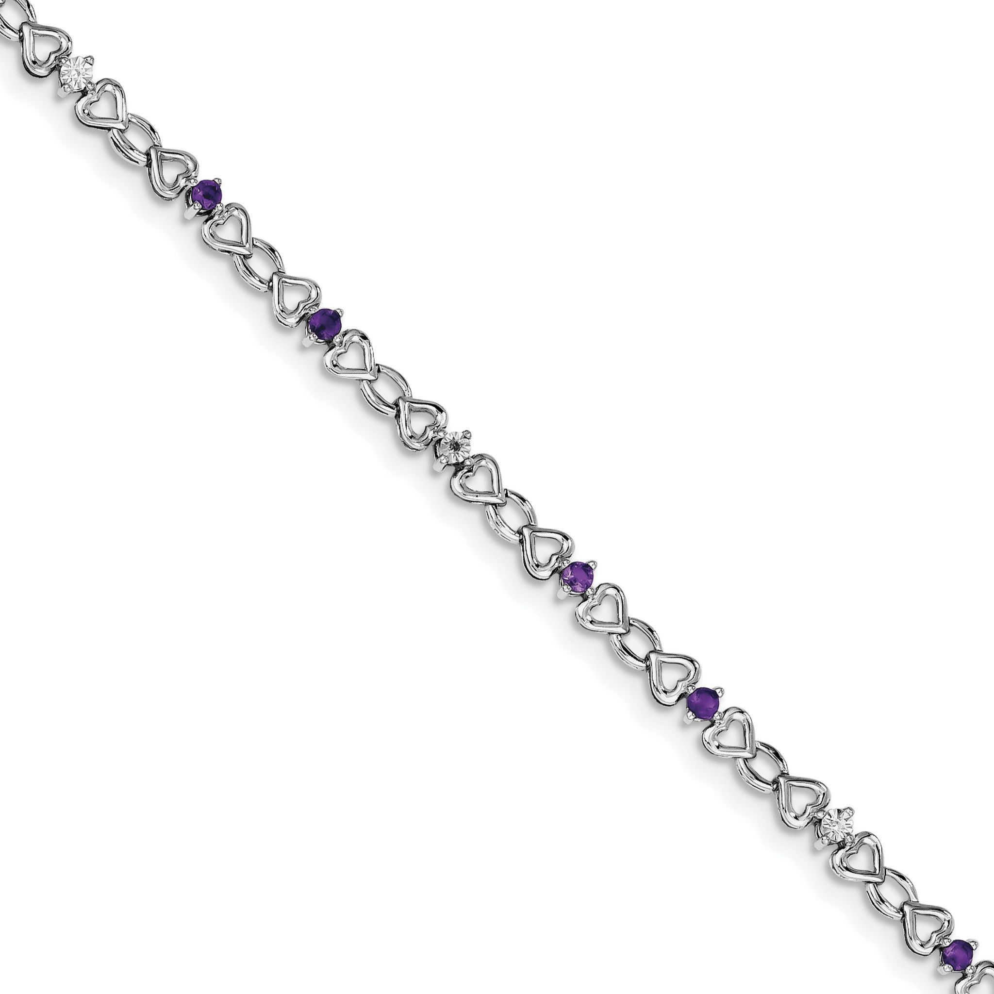 Sterling Silver Rhodium-plated Amethyst & Diamond Bracelet QX849AM