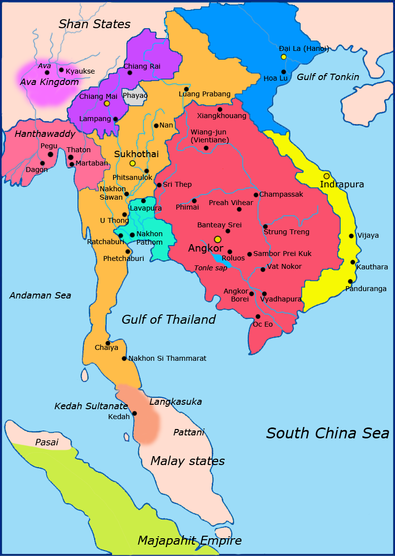 Delightful Political Map Of Southeast Asia Circa 1300 CE. Khmer Empire Is In Red, Lavo  Kingdom/Dvaravati In Light Blue, Sukhothai Empire In Orange, Champa In  Yellow, ...
