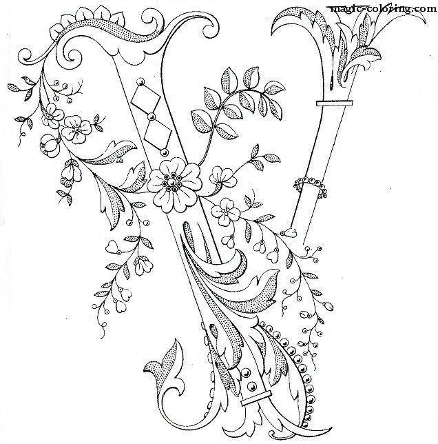 MAGIC-COLORING | Flowered Monograms (3) | Typography | Pinterest ...