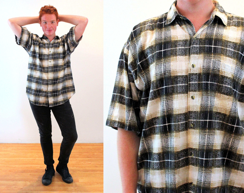 90s Shadow Plaid Shirt L Men S Cotton Nepal Tan Black Etsy In 2020 Mens Vintage Shirts Plaid Shirt Vintage Mens Blazer