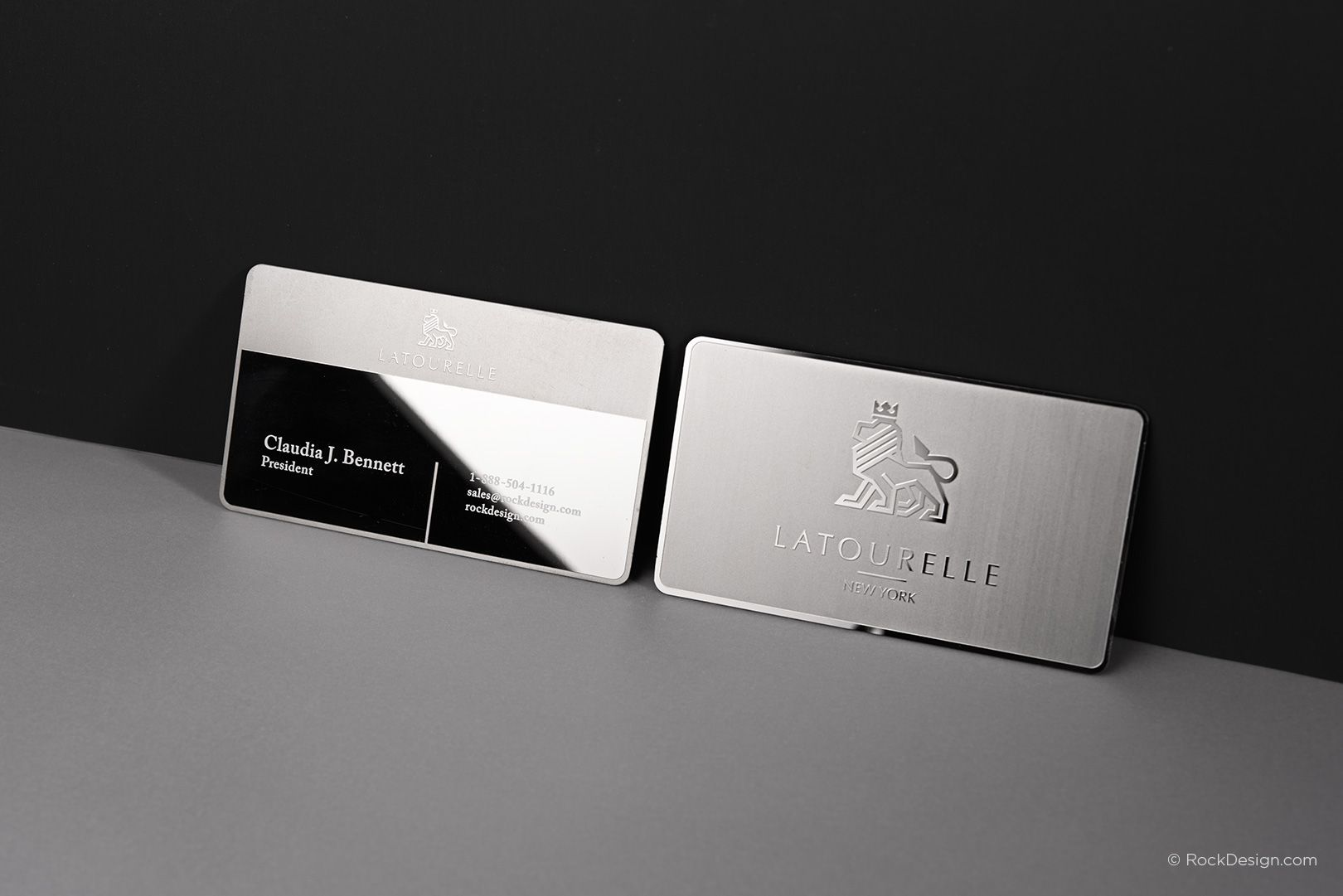Sophisticated modern stainless steel business card with etching and sophisticated modern stainless steel business card with etching and mirror finish latourelle rockdesign luxury business card printing colourmoves