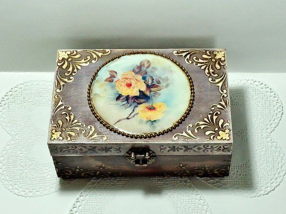 Middle size Shabby Сhic brown Jewelry Box Distressed Box distressed box trinket box with roses antique jewelry box hand decorated box  Middle size Shabby Сhic brown Jewel...
