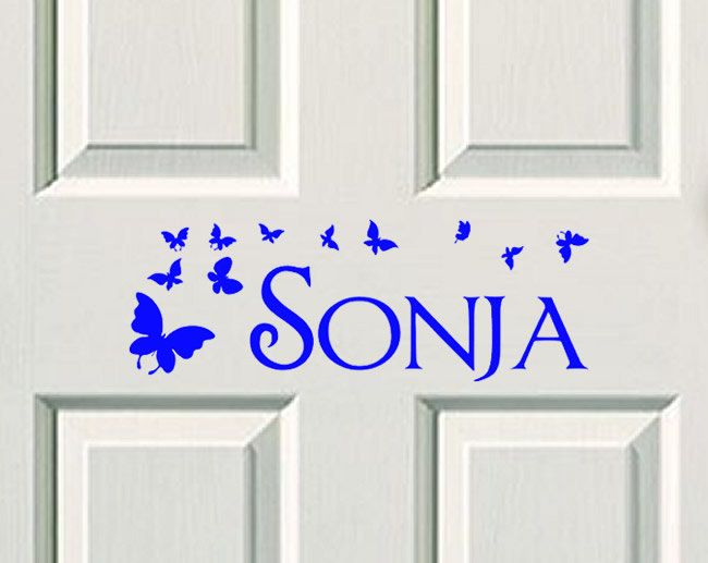 Kids Bedroom Door kids door decal, name decal, name sticker, butterfly name, bedroom