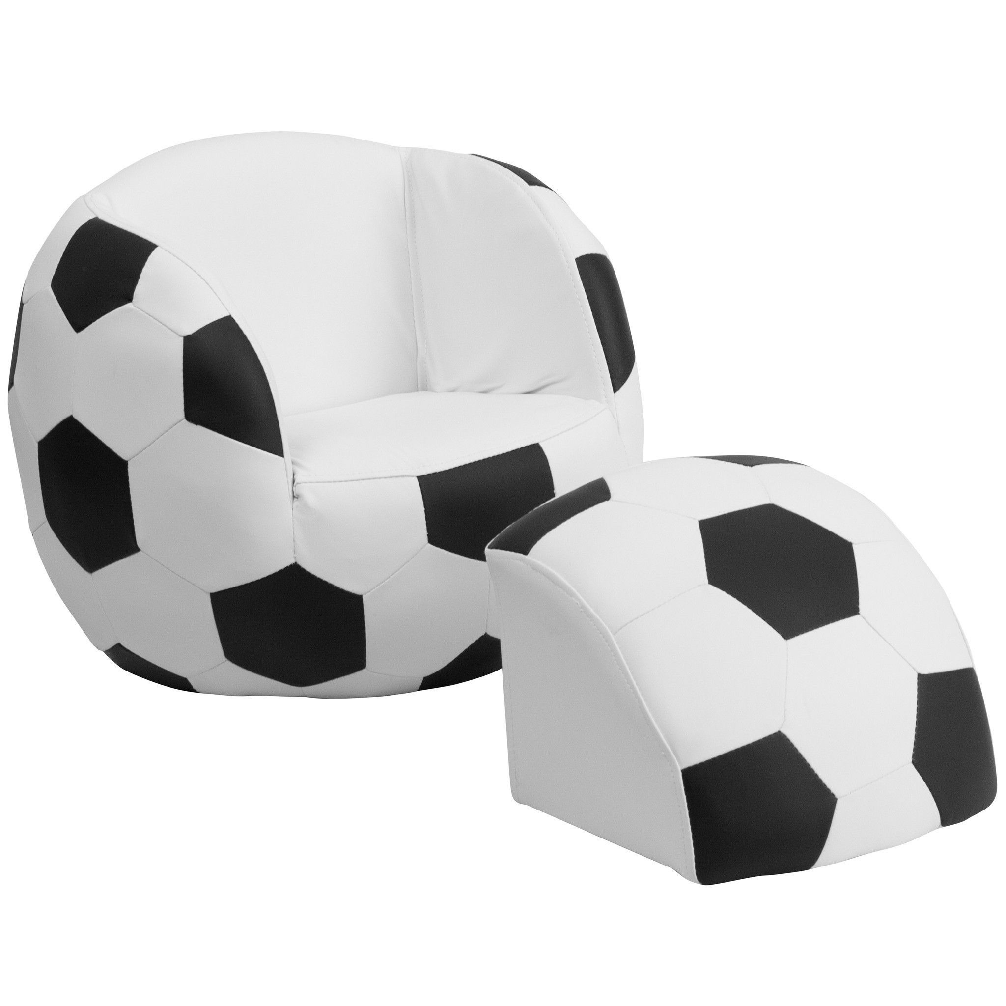 Flash Furniture Kids Soccer Chair And Footstool Hr 1 Gg With
