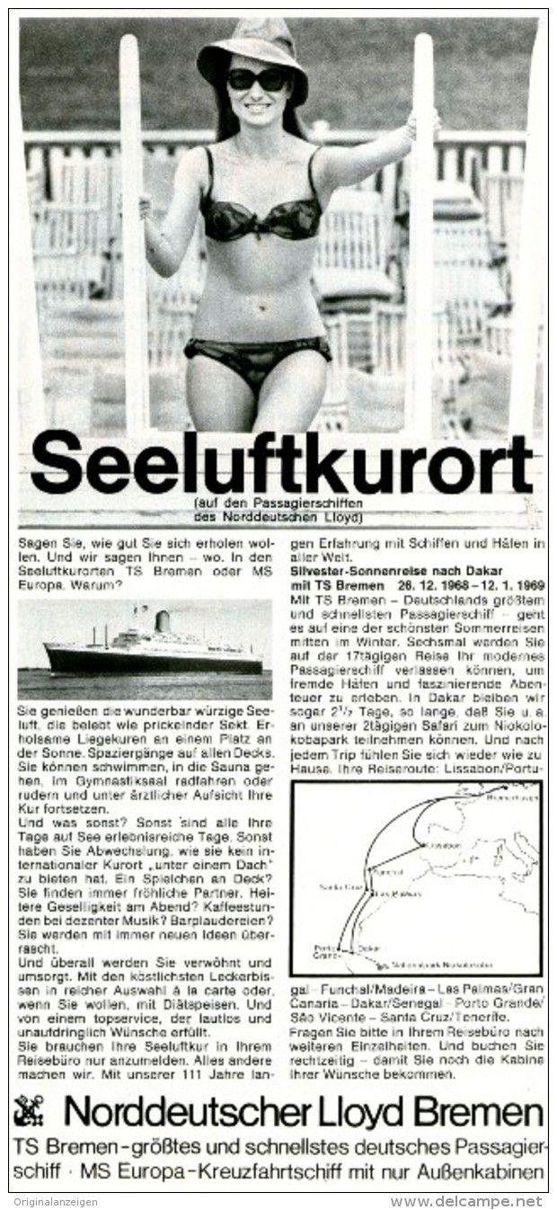 Original-Werbung/ Anzeige 1968 - NORDDEUTSCHER LLOYD BREMEN - ca. 115 x 240 mm