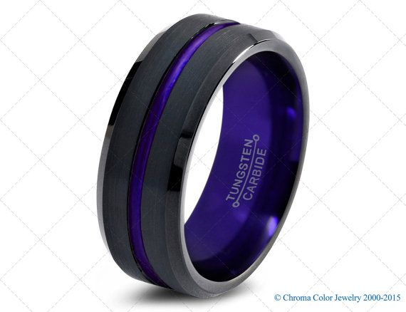 Mens Wedding Band Black Purple Tungsten Ring Black Wedding Bands