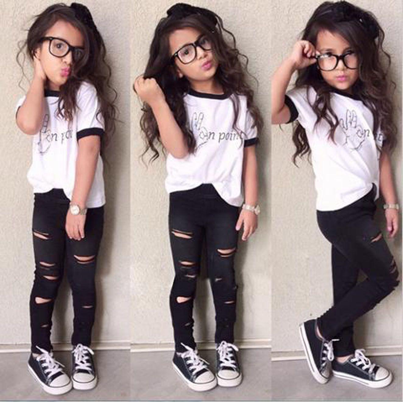 2PCS Kids Baby Girls Short Sleeve T-shirt Tops+Leggings Pants Outfits Clothes