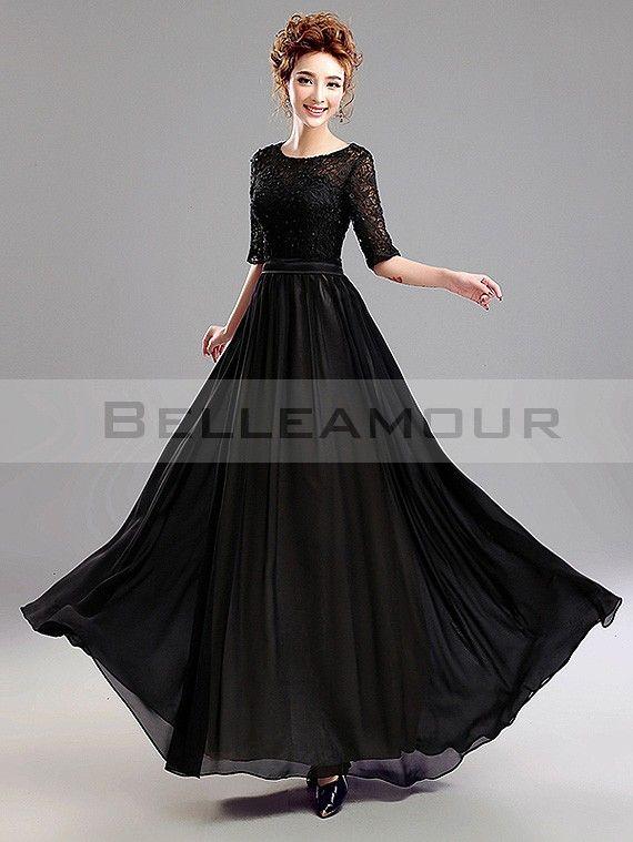 Robe noire dentelle longue