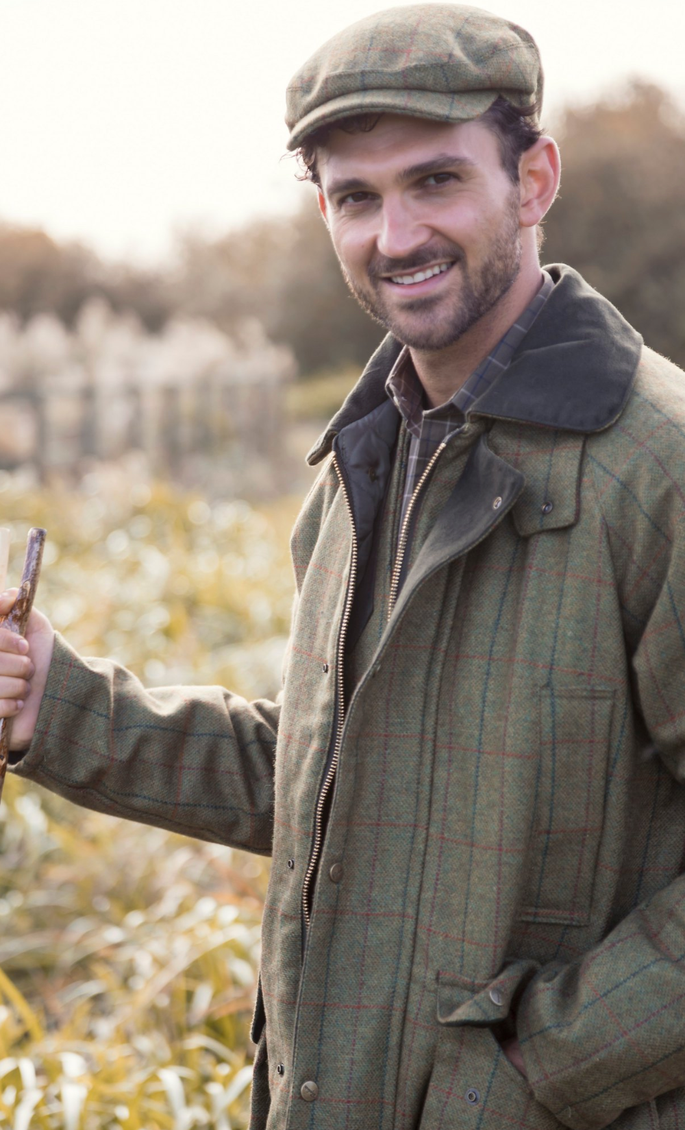 Man In Full Matching Tweeds Smiling On The Shoot Day Country Clothing Uk Country Outfits Country Wear