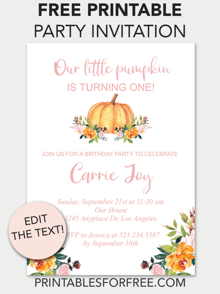 graphic about Free Printable Fall Party Invitations known as Pumpkin Floral Printable Birthday Invitation Ella