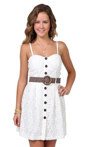 floral lace corset dress with belted waist and button