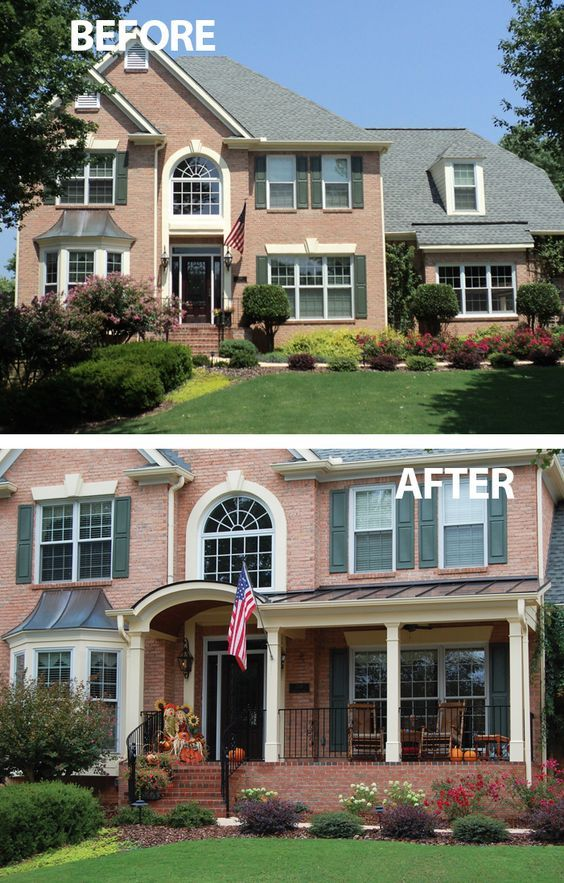 A Front Porch Addition Featuring A Metal Roof And Arched Entry Lend A Modern Take On A Traditional Brick House Front Porch Home Exterior Makeover Porch Remodel