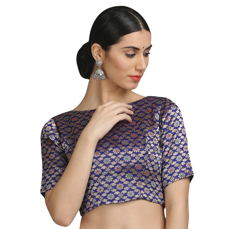 bb5e4eee37201 NIKA Women s Art Silk Brocade Padded Designer Saree Blouse by Kaanchie  Nanggia (BL1052 Blue)