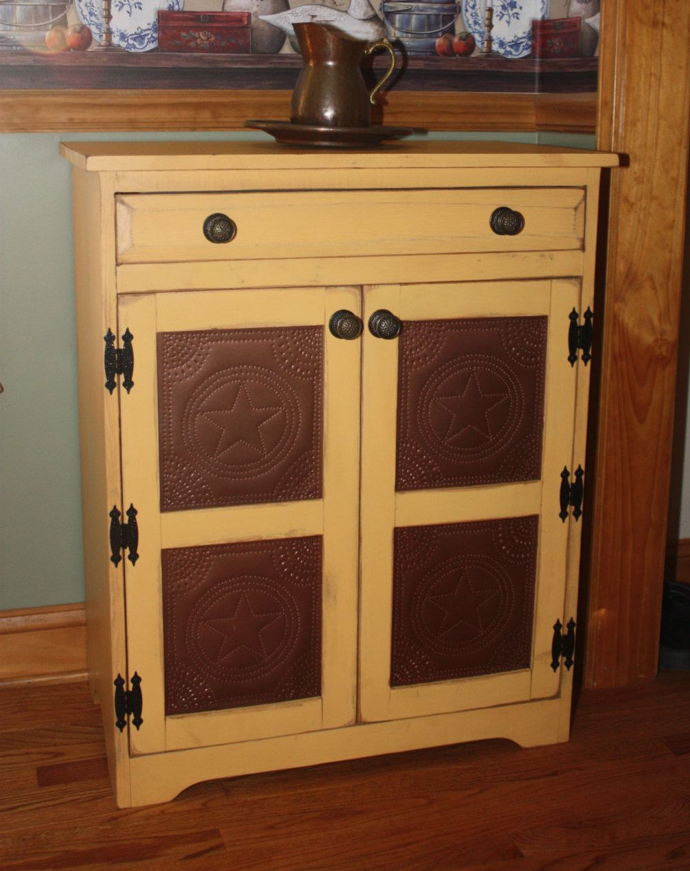 Pie Safe, FREE SHIPPING, Punched Copper, Cabinet, Shabby, Chic, Media