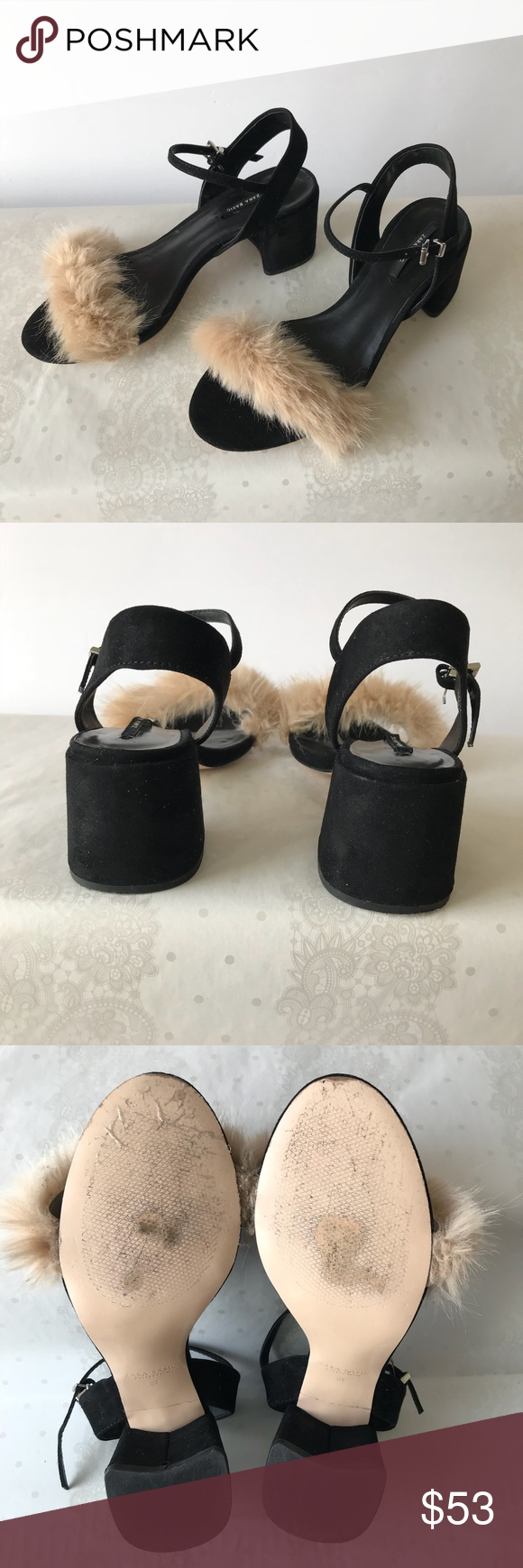 c9008e48f9b Zara Black Faux Fur Vamp Block Heel Sandals Size 7 Please see all pics  before purchasing. If you have any questions