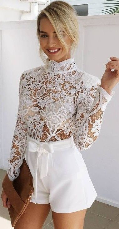 Muraboutique Label Outfitideas All White Lace Bow Fashion