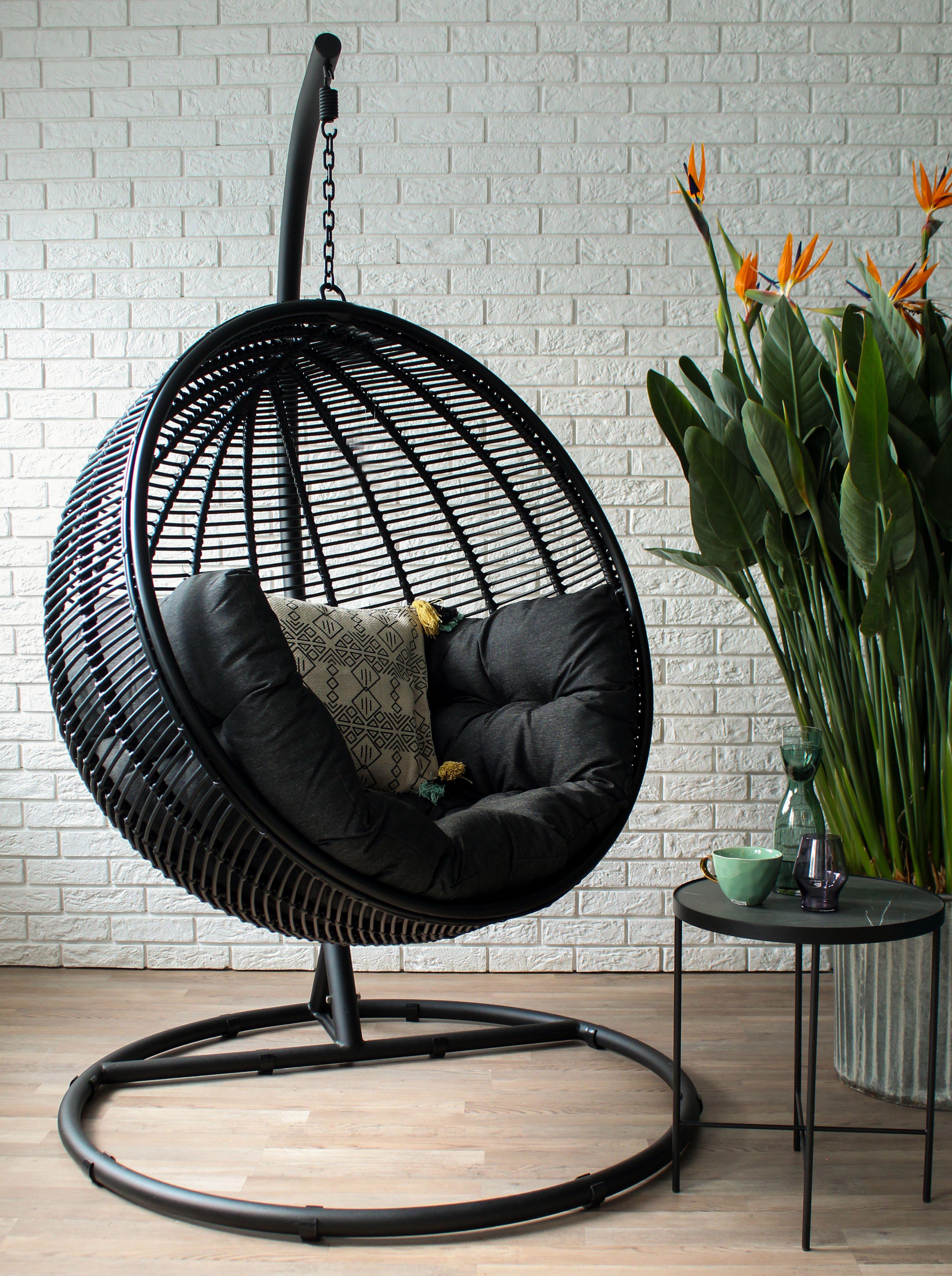 Miloo Fotel Ogrodowy Wiszacy Hustawka Ogrodowa Cocoon De Luxe Czarny Przedsprzedaz Dostawa Koniec Kwietnia Hanging Chair Furniture Decor
