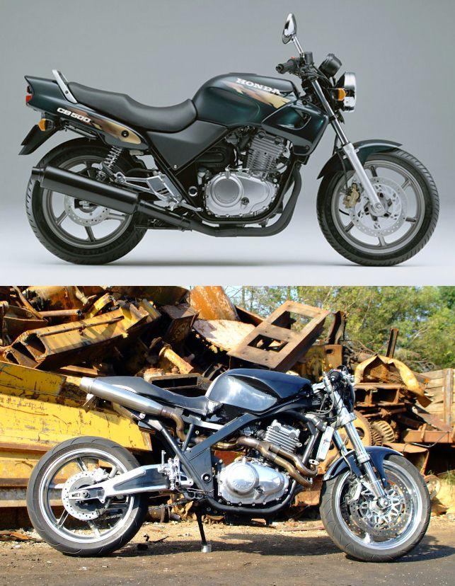 Image issue du site Web http://dogsville.es/wp-content/uploads/2012/02/Vander-Honda-CB500-cafe-fighter.jpg