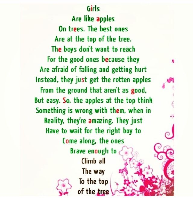 Girls Are Like Apples On Trees The Best Ones Are The Top Of The Tree The Boys Don T Want To Reach For The Good Ones Beca Apple Quotes Boy Quotes True