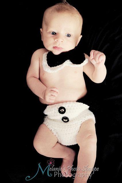 Baby boy tuxedo diaper cover photo prop by GlowsCrochetCreation, $4.99