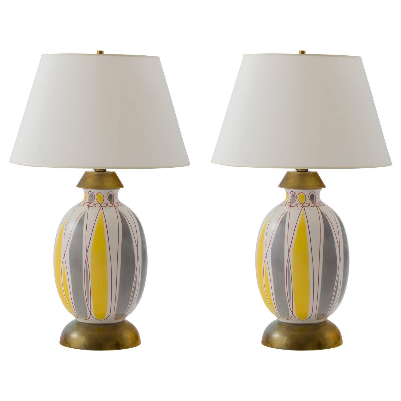 Giovanni Gariboldi Richard Ginori 1950s Italian Abstract Ceramic Lamps