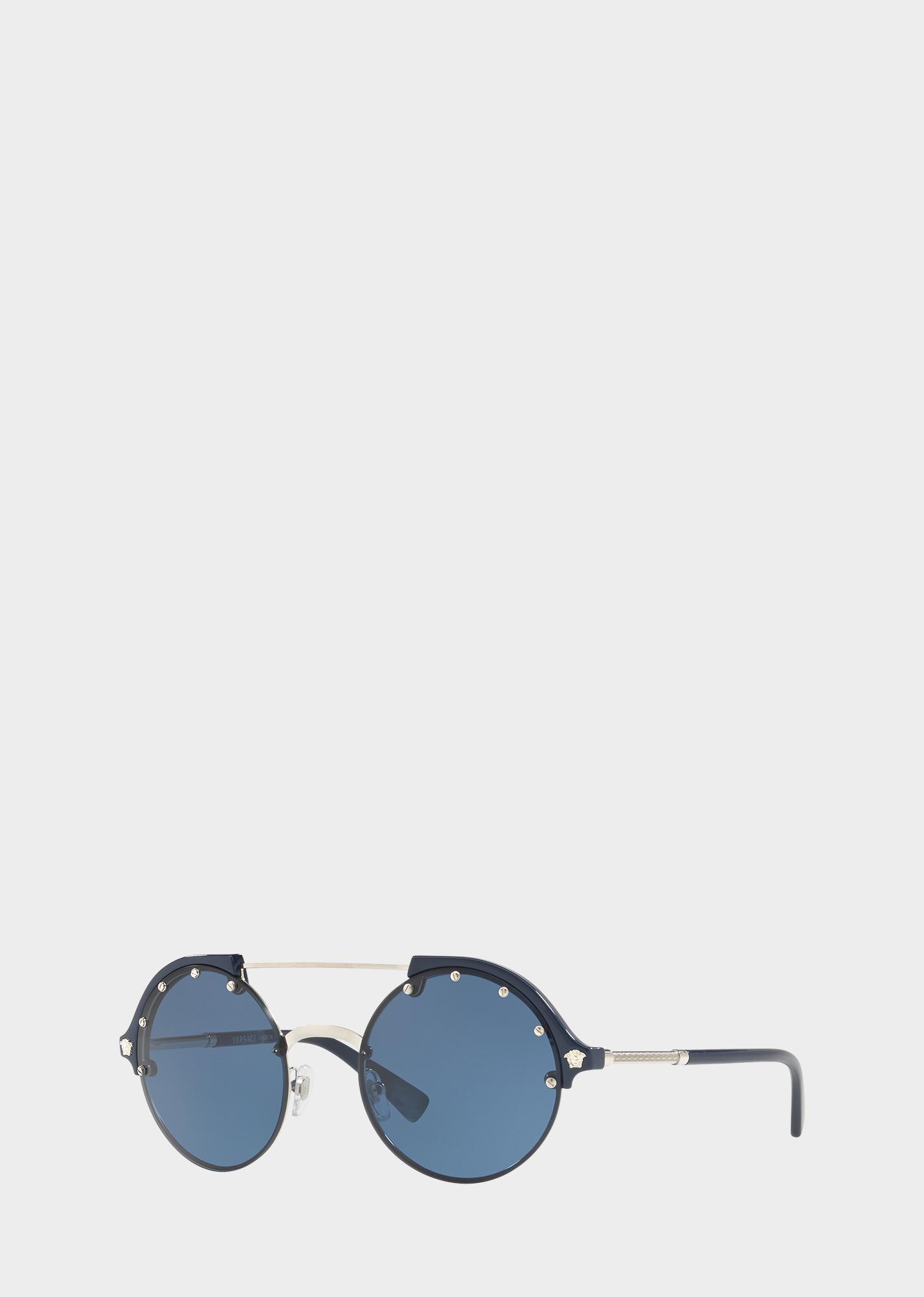 726064dc6226 Versace Blue  Frenergy Round Sunglasses for Women