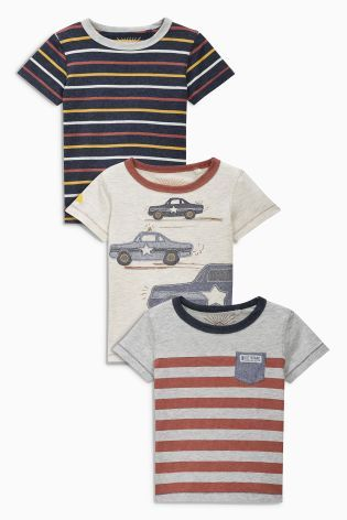 Buy Rust Cars And Stripes T-Shirts Three Pack (3mths-6yrs) online today at Next Direct: Brazil